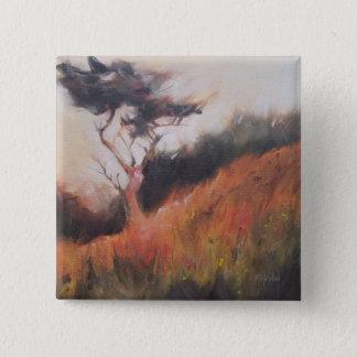 Einziger Baum Kaliforniens Monterey Zypresse Quadratischer Button 5,1 Cm