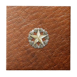 Einziger Stern Concho Texas auf Brown-Lederblick Keramikfliese