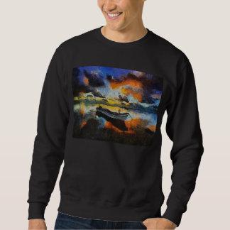 Einziges Boot an der Dämmerung Sweatshirt