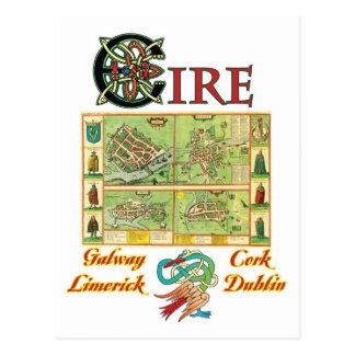 Eire-Stadt-Karte Postkarte