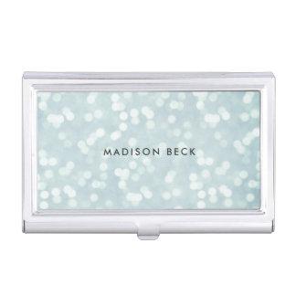 Eis-Blau Bokeh personalisiert Visitenkarten Etui