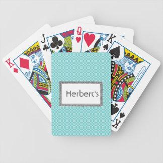 Eis-Blau-Monogramm-Schablone-Silber-Deko Bicycle Spielkarten