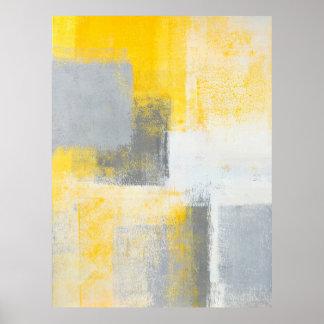 """""""Eis-Kasten-"""" graue und gelbe abstrakte Kunst Poster"""