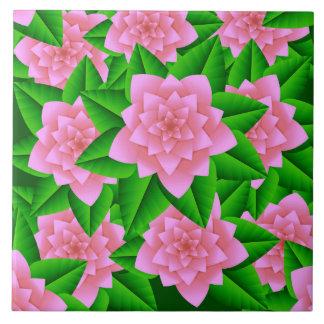Eis-rosa Kamelien und Grün-Blätter Keramikfliese