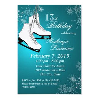 Eis-Skate-und Schneeflocke-aquamariner Geburtstag 12,7 X 17,8 Cm Einladungskarte