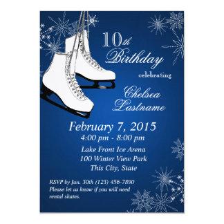 Eis-Skate-und Schneeflocke-Blau-Geburtstag 12,7 X 17,8 Cm Einladungskarte