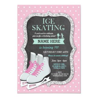 Eis-Skaten-Geburtstags-Party-Rosa-Skate laden ein Karte
