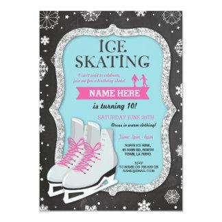 Eis-Skaten-Geburtstags-Party-Schneeflocke-Kreide Karte