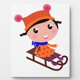 Eis-Skaten-Mädchen Orange Fotoplatte
