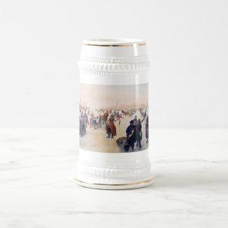 Eis-Skaten-Szene. Weihnachtsgeschenk-Bier-Tasse Bierglas