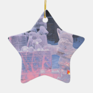 Eis-Skulptur-sportlicher Künstler, der arktische Keramik Stern-Ornament