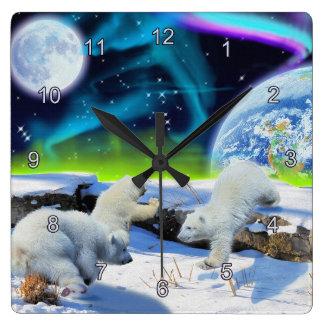 Eisbär CUB u. Aurora-Tag der Erde-Uhr Wanduhr