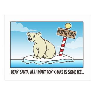 Eisbär-Eis-Weihnachten Postkarte