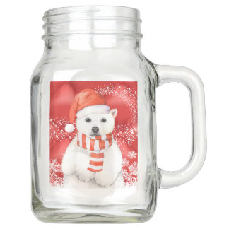 Eisbär in einer Sankt-Kappe - Weiß der Einmachglas