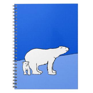Eisbär-Mamma und CUB-Malerei - Tier-Kunst Spiral Notizblock