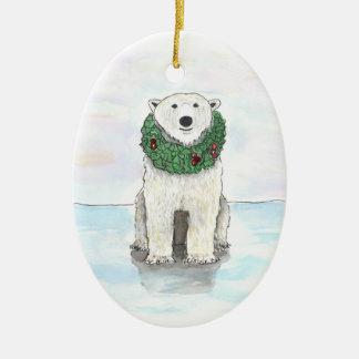 Eisbär mit Feiertags-Kranz-Verzierung Keramik Ornament