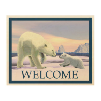 Eisbär - Mutter Nose Best - Willkommen Holzwanddeko