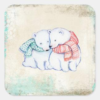 Eisbär-Paare Quadratischer Aufkleber