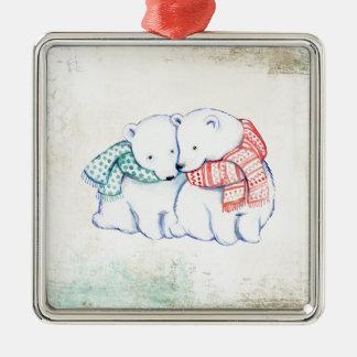 Eisbär-Paare Silbernes Ornament
