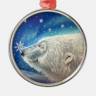 Eisbär-Schneeflocke-Verzierung Silbernes Ornament