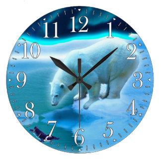 Eisbär u. arktische Pinguin-Aurora-Kunst-Uhr Große Wanduhr