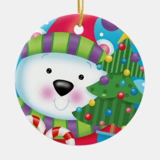 Eisbär und sein Weihnachtsbaum Keramik Ornament