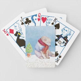 Eisbär-und Weihnachtsbaum im Schnee Bicycle Spielkarten