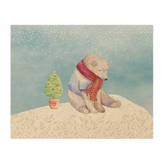 Eisbär-und Weihnachtsbaum im Schnee Holzdruck
