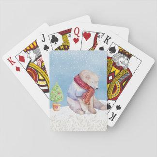 Eisbär-und Weihnachtsbaum im Schnee Spielkarten