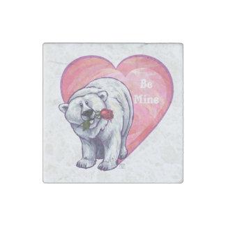 Eisbär-Valentinstag Stein-Magnet