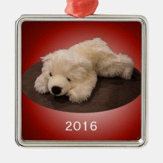 Eisbär-Verzierung Silbernes Ornament