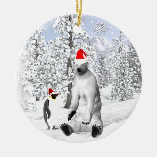 Eisbär-Weihnachtsverzierung Keramik Ornament