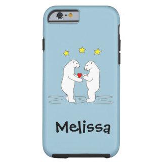 Eisbären, die Herz-und Gelb-Sterne geben Tough iPhone 6 Hülle