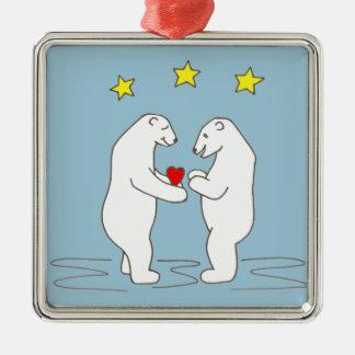 Eisbären, die Herz-und Gelb-Sterne geben Silbernes Ornament