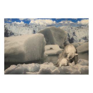 Eisbären Holzleinwand