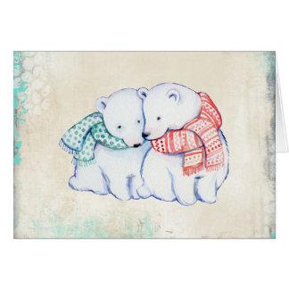 Eisbären in der Schal-Weihnachtskarte Karte