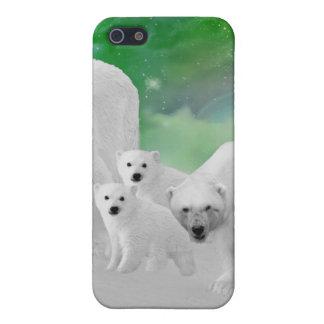 Eisbären, Junge und Nordlichter iPhone 5 Hülle