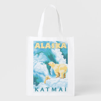 Eisbären u. CUB - Katmai, Alaska Einkaufsbeutel