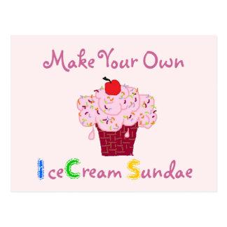 Eiscreme-Eiscremebecher-Party Einladung Postkarte