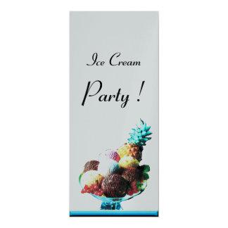 EISCREME-GEBURTSTAGS-PARTY-Silberschwarzblau 10,2 X 23,5 Cm Einladungskarte