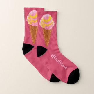 Eiscreme-Kegel-Namesocken Socken