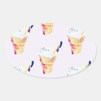 Eiscreme-Königin Ovaler Aufkleber