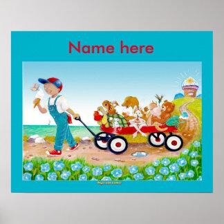 Eiscreme-Leckerei-Kinderzimmerplakat im Watercolor Poster