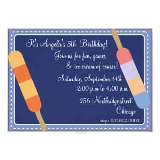 Eiscreme-Partei blaue Geburtstagseinladungen 12,7 X 17,8 Cm Einladungskarte