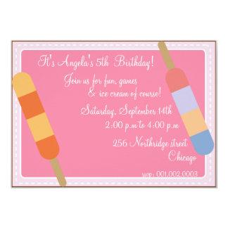 Eiscreme-Partei Rosa-Geburtstagseinladungen 12,7 X 17,8 Cm Einladungskarte