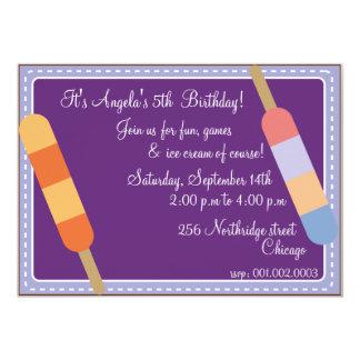 Eiscreme-Partei tiefpurpurne 12,7 X 17,8 Cm Einladungskarte