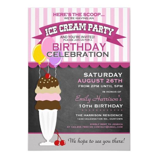 Eiscreme-Party-Geburtstags-Einladung Karte