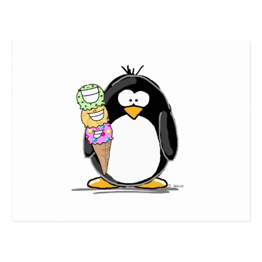 Eiscreme-Pinguin Postkarte