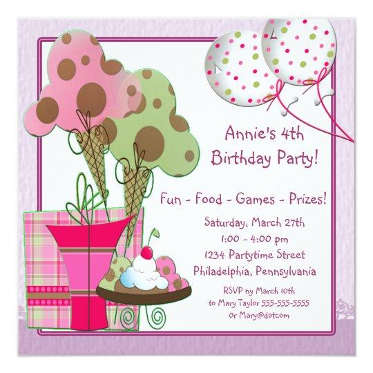 Eiscreme steigt Mädchen-4. Geburtstags-Party im Quadratische 13,3 Cm Einladungskarte