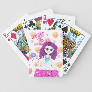 Eiscreme und Lutscher Chibi Bicycle Spielkarten